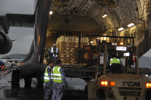 UNFPA supplies arrived at Pakse Airport with Australian Airforce